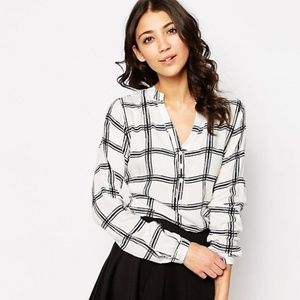 B. young - plaid long sleeve blouse Asos brand